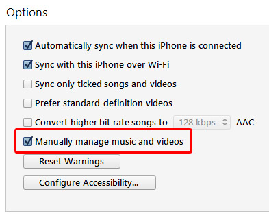 manually manage music and videos