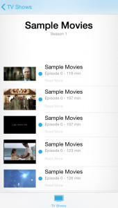 sample movies iphone tv show